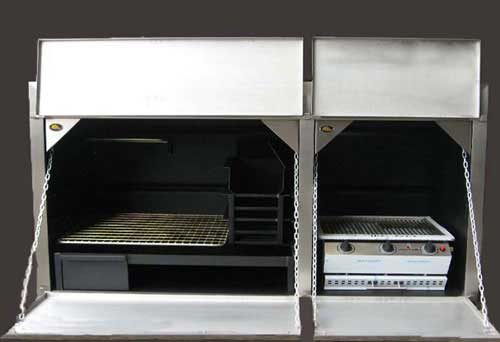 1850mm Combination braai with stainless facade