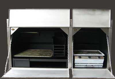 1850mm Combination Braai with 3burner grill and stainless facade