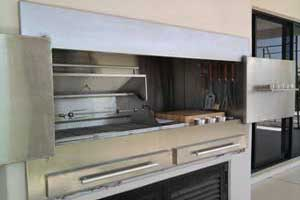 stainless braai with gas BBQ and chopping block