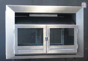 Double-sided insert with stainless trim and glass doors