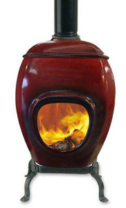 Deep Red Eartfire Ceramic Firepot